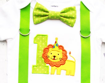 Baby Boy First Birthday Lion themed first birthday bow tie suspender Boy one year cake smash boy animal first birthday zoo cake smash