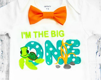 Boy first birthday sea turtle 1st birthday bow tie I'm the big ONE cake smash outfit Boy first birthday Boy number 1 sea turtle first bday
