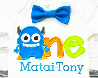Baby Boy first birthday Little Monster Bow tie  Monsters Boy Cake Smash Boy first year outfit Boy first birthday, Boy Second