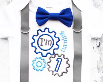 Boy First birthday I'm turning one Cake Smash Outfit 1st birthday Machine themed bow tie suspender cake smash outfit Boy first birthday Boy