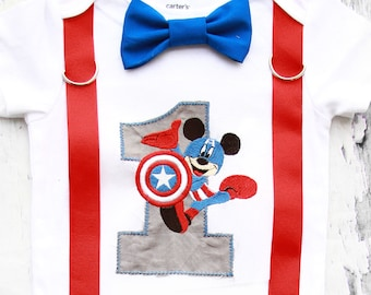 Boy first birthday Captain America Mickey Mouse Super Hero Bow tie and Suspenders set Boy Cake Smash Boy first year outfit Boy number 1
