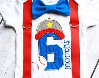 Boy half birthday onesie 6 months baseball onesie matching suspenders bow tie set, 1/2 Birthday baby boy onesie, Baby boy birthday outfit