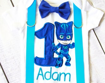 Pj Mask Catboy Cake Smash Outfit cat boy 1st birthday bow tie blue suspender set cake smash outfit Boy first birthday Boy number