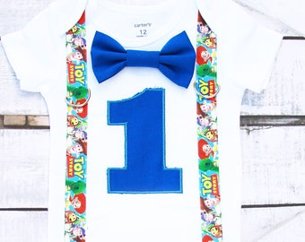 Baby Boy first birthday bow tie and suspender set, Woody themed birthday Buzz themed birthday Cake smash outfit 1st birthday toy themed