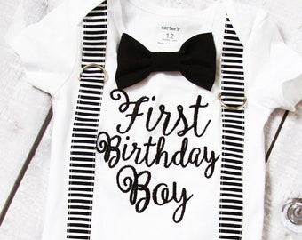 Boy first birthday onesie with matching suspenders and bow tie set, first Birthday baby boy onesie, Baby boy birthday outfit