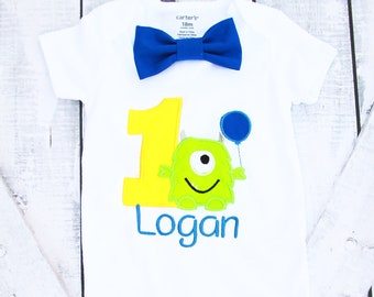 Baby Boy first birthday shirt  Monster Bow tie  Monsters Boy Cake Smash Boy first year outfit Boy first birthday, Boy Second