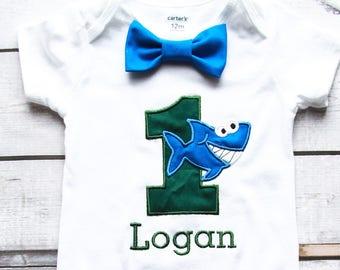 Boy first birthday Shark 1st birthday bow tie set cake smash outfit Boy first birthday Boy number 1 Shark  first bday