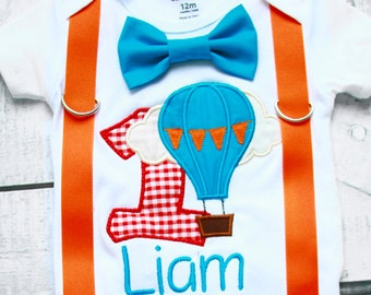 Boy first birthday Hot Air Balloon themed bow tie & Suspenders Bow tie Number 1 First Birthday Boy Cake Smash Outfit Boy 1st Birthday