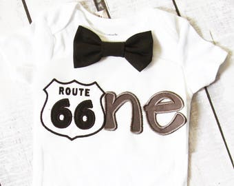 Baby boy first birthday Route 66 ONE cake smash outfit boy little Route 66 1st birthday Route 66 one year bow tie onesie birthday shirt