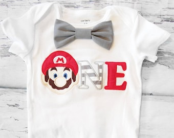 Baby boy Super Mario Brothers first birthday onesie Nintendo Mario  boy one year outfit Mario Brothers grey bow tie boy birthday