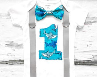 Boy first birthday Shark 1st birthday bow tie set cake smash outfit Boy first birthday Boy number 1 Shark first bday