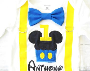 Baby first birthday Blue Mickey Mouse Cupcake themed cake smash outfit boy Mickey Mouse 1st birthday one year bow tie onesie boy birthday