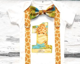Baby boy first birthday Baby Giraffe zoo themed cake smash outfit boy little giraffe 1st birthday one year bow tie onesie  boy birthday