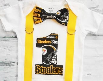 Baby boy Pittsburg Steelers NFL Football Themed first birthday onesie, boy first birthday one Steelers first birthday black gold bow tie set