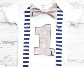 Boy first birthday Nautical Theme Bow tie and Suspenders set Boy Cake Smash Boy outfit Boy number  Boy first birthday Boy Second Boy Sailing