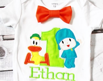 Baby Boy first birthday shirt pato and pocoyo Bow tie  pato and pocoyo Boy Cake Smash Boy first year outfit Boy first birthday, Boy Second
