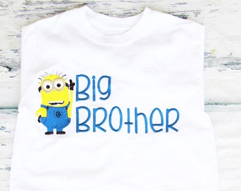 Boy Big Brother Minion Themed Big Bro Jerry The Minion baby brother despicable me outfit Boy big brother family minion shirts