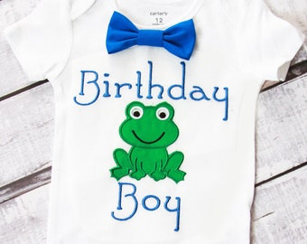 Frog Birthday Boy cake smash outfit boy 1st birthday frog one year bow tie onesie birthday shirt amphibian