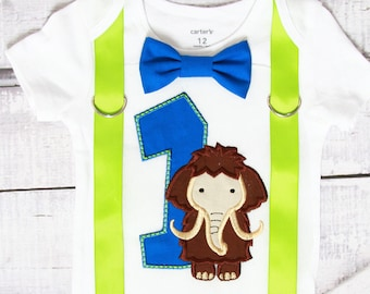 Boy first birthday Mammoth  themed bow tie & Suspenders Bow tie Number 1 First Birthday Boy Cake Smash Outfit Boy 1st Birthday