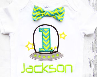 Boy first birthday Space ship themed alien ship bow tie Bow tie First Birthday alien ship Boy Cake Smash Outfit Boy 1st Birthday
