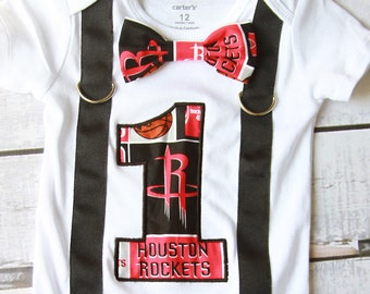 Boy first birthday Houston Rockets Theme Boy Cake Smash Outfit, Bow Tie  Suspenders, Boy first Birthday Houston rockets boys first birthday
