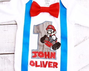 Baby boy Mario Kart first birthday onesie Nintendo Super Mario Cart boy one year outfit Mario Brothers bow tie boy birthday Suspenders