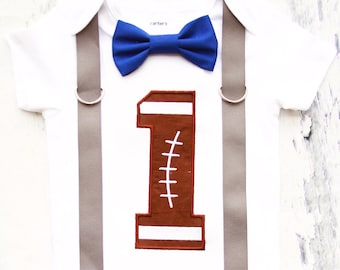 Baby boy Football Themed first birthday onesie, boy first birthday one NFL Football  first birthday suspenders Football bow tie set