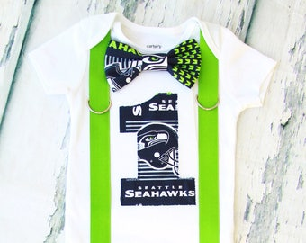 Baby boy Seattle Seahawks NFL Football Themed first birthday onesie, boy first birthday one Seattle Seahawks first birthday bow tie set