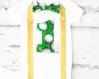 Baby boy Golf ball  themed cake smash outfit first birthday golf ball bow tie and suspender set boy ONE year PGA customizable