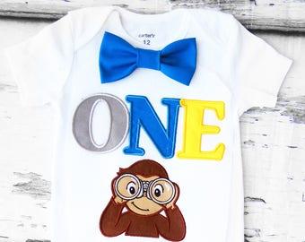 Boy birthday Curious Monkey Bow tie Boy explorer monkey Cake Smash Boy first year outfit Boy number 1, Boy birthday, Boy Second