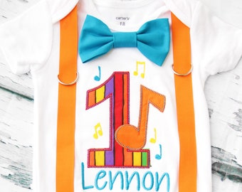 Boy first birthday rainbow music notes themed bow tie & Suspenders set Bow tie Number 1 Boy First Birthday Boy Cake Smash Boy 1st Birthday
