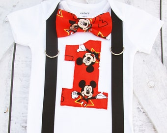 Disney Mickey Mouse First birthday Theme Bow tie and Suspenders set Boy Cake Smash Boy first year outfit  Boy number 1 Boy first birthday
