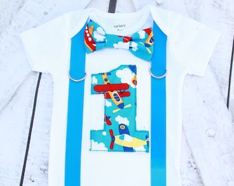 Airplane Baby boy first birthday airplane themed cakesmash outfit boy airplane and clouds 1st birthday one year bow tie onesie
