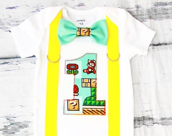 Baby boy Super Mario 3 Brothers first birthday onesie Nintendo Mario 3 boy one year outfit Mario Brothers bow tie boy birthday Suspenders