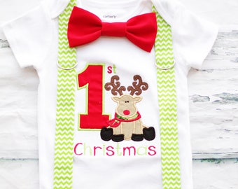 Boy 1st Christmas Baby Boy onesie, Reindeer Christmas onesie, Matching Bow tie and suspender set, Boy Christmas outfit