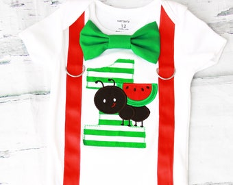 Boy first birthday Watermelon ant 1st birthday bow tie suspender set cake smash outfit Boy first birthday Boy number 1 Watermelon first bday