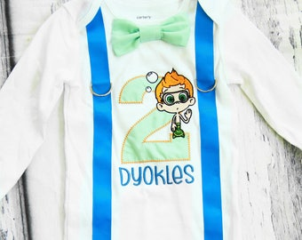 Baby boy second birthday Bubble Guppies Nonny  onesie with bow tie and suspender, Parents' Shirts, boy number 2 onesie Gil second birthday