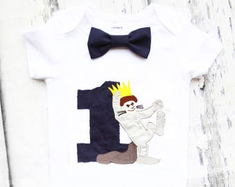 Boy first birthday Where the wild things are Bow tie Max Boy Cake Smash Boy first year outfit Boy first birthday, Boy Second