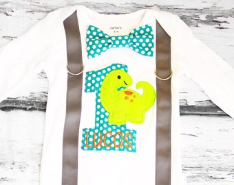 Baby boy first birthday Baby Dinosaur themed cake smash outfit boy little Dino 1st birthday one year bow tie onesie  boy birthday suspenders