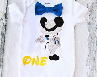 Baby first birthday Mickey Mouse themed cake smash outfit boy Mickey Mouse 1st birthday one year Smooth Criminal Themed boy birthday shirt