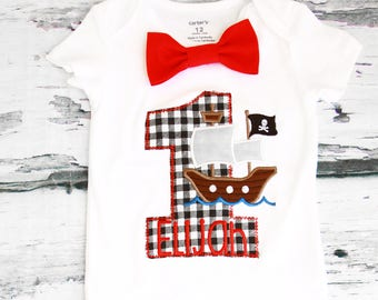 Boy first birthday Pirate Ship 1st birthday red bow tie set cake smash outfit Boy first birthday Boy number 1 Pirate ship first bday