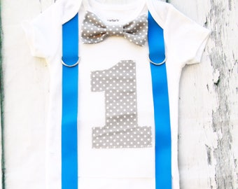 Boy First birthday bow tie & Suspenders set Bow tie polka dot Number 1 Boy First Birthday Boy Cake Smash Outfit Boy 1st Birthday