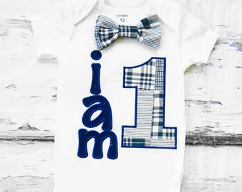 Baby boy first birthday onesie Navy  I am 1  boy one year outfit bow tie boy birthday boy first birthday I am 1 navy plaid plaid bow tie