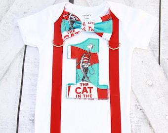 Boy first birthday Dr  Seuss Cat in the Hat Theme bow tie  Boy Cake Smash Outfit, Boy first Birthday  Boy 1st birthday add parents shirts