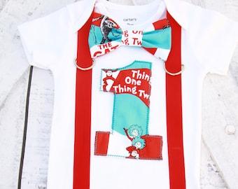 Boy first birthday Dr  Seuss Thing 1 Thing 2 Theme bow tie  Boy Cake Smash Outfit, Boy first Birthday  Boy 1st birthday add parents shirts