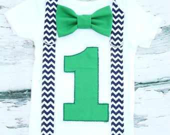 Baby boy green number 1 with navy chevron suspenders with green bow tie Baby boy navy and green first birthday cake smash outfit boy one