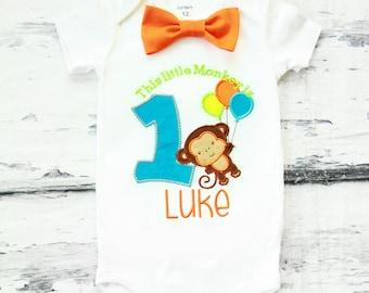 Baby Boy first birthday shirt Little Monkey Bow tie Monkey Boy Cake Smash Boy first year outfit Boy first birthday, Boy Second