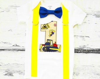 boy first birthday Road construction bow tie suspender set cake smash outfit dump truck 1st birthday one year Boy first birthday Boy