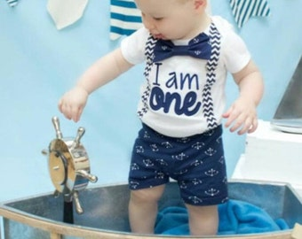 286f1c4c4 Baby boy nautical navy chevron first birthday onesie Navy chevron I am ONE  boy one year outfit zig zap suspender bow tie anchor boy birthday
