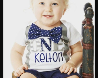 Baby Boy first birthday Navy Polka Themed ONE Birthday Cake Smash Outfit, Baby boy grey and navy first birthday Cake smash suspender bow tie